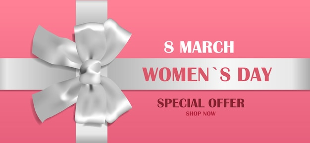 Decorative silver bow with ribbon womens day 8 march holiday sale special offer concept greeting card poster or flyer horizontal illustration