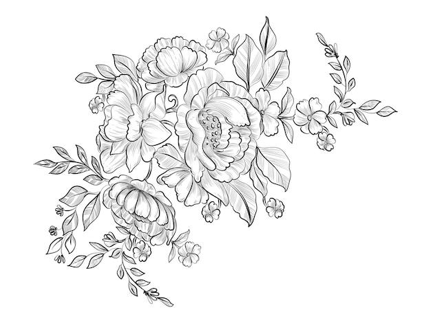 Декоративный эскиз цветок рисованной дизайн