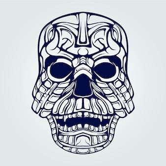 Decorative skull face line art with teeth
