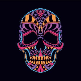 Decorative skull from neon color