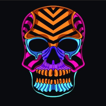 Decorative skull in glow neon color