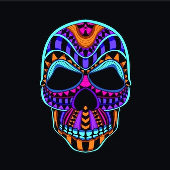 Decorative skull head from neon color