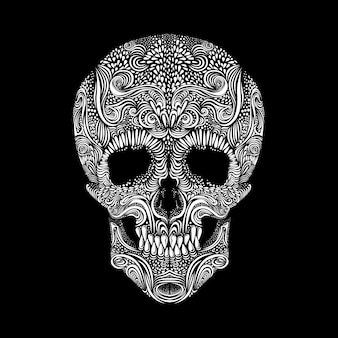 黒の背景に装飾的な頭蓋骨