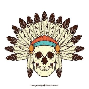 Cranio decorativo con penna di decorazione