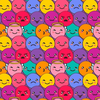 Decorative smile emoticons pattern