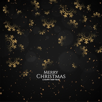 Decorative snowflakes merry christmas festival black background vector
