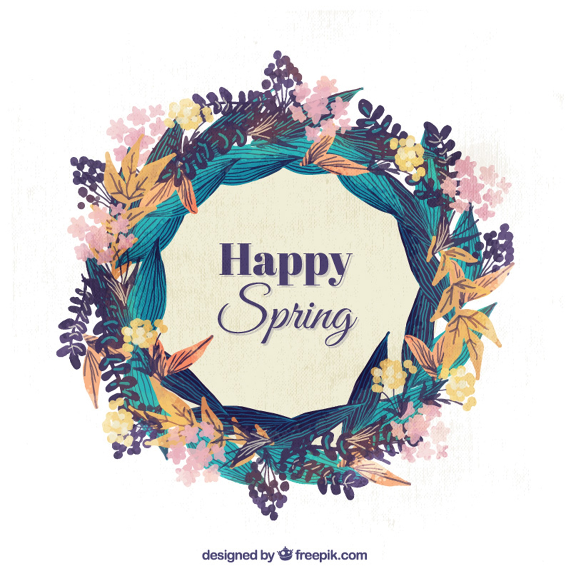 Decorative spring wreath in watercolor style