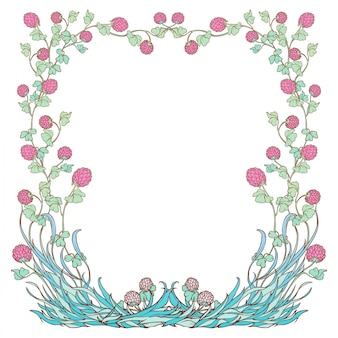 Decorative square frame with pink clover in bloom. st. patrick's day festive design.