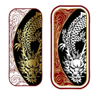 Decorative stamp with dragon in chinese style Premium Vector