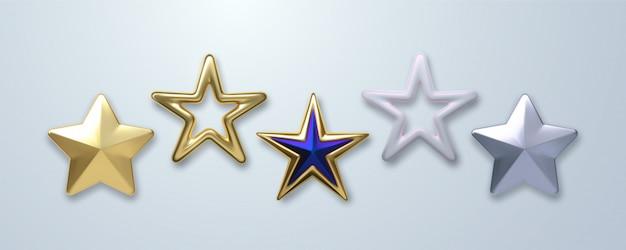 Decorative stars set isolated on white background.