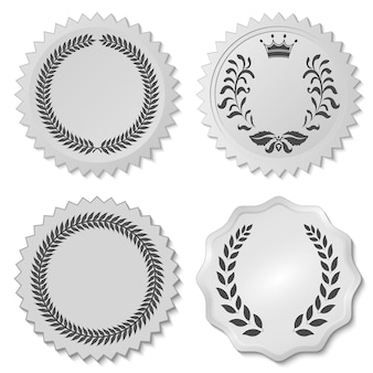 Decorative stickers set with laurel leafs, circular laurel foliate emblem, wreaths depicting an award, heraldry nobility - vector illustration, you can change the shape and color as you wish