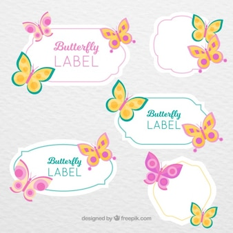 Decorative stickers with butterflies in vintage style