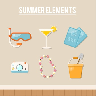 Decorative summer objects in flat design