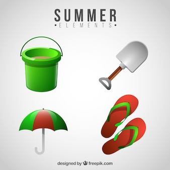 Decorative summer objects in realistic design