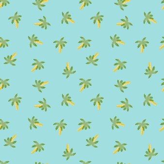Decorative summer travel seamless pattern with green random palm tree print. blue background. designed for fabric design, textile print, wrapping, cover. vector illustration.