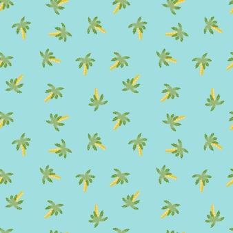 緑のランダムなヤシの木のプリントで装飾的な夏の旅行のシームレスなパターン。青い背景。ファブリックデザイン、テキスタイルプリント、ラッピング、カバー用に設計されています。ベクトルイラスト。