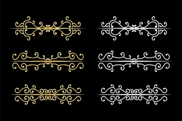 Decorative swirls dividers old text delimiter, calligraphic swirl ornaments and vintage divider, retro borders.