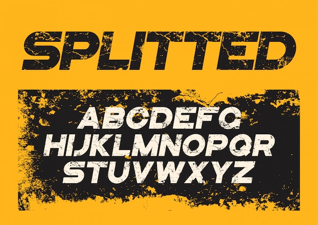 Decorative textured bold font with grunge distress effect.