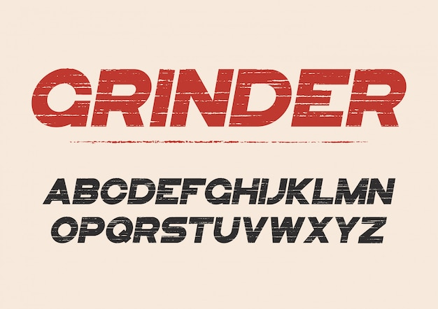 Decorative textured bold font with grunge effect. vector alphabe