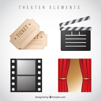 Decorative theater elements in realistic style Free Vector