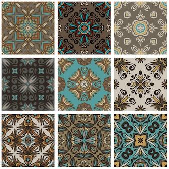 装飾的なタイルパターン。古典的な飾り、シームレスなパターン、壁紙。タイルの背景のセット。