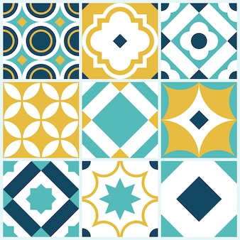Decorative tile pattern with geometric shapes