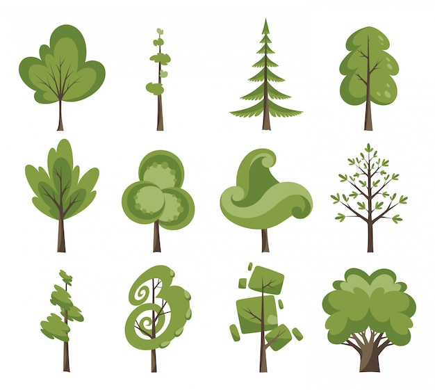 Decorative trees set. flat trees in a flat design. isolated