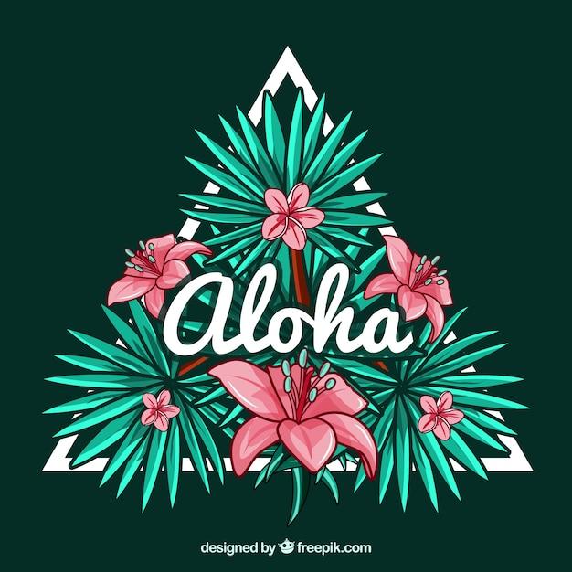 Decorative triangle background with hawaiian flowers and the aloha word