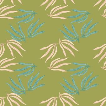 装飾的な熱帯の葉の無意味なパターン。抽象的な夏の熱帯の葉。エキゾチックなハワイの壁紙。生地、テキスタイルプリント、ラッピング、カバーのデザイン。ベクトルイラスト。