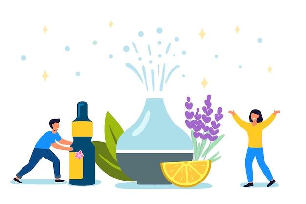 瞑想と新鮮さのための装飾的な超音波ホームディフューザーとラベンダーの花アロマテラピー