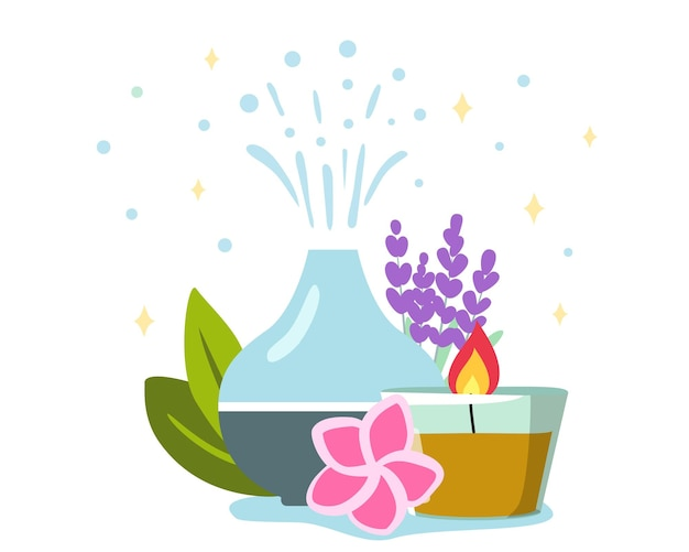 Decorative ultrasonicdiffuser and lavender flowers meditation and freshness at home and aromatherapy