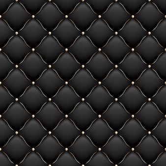 Decorative upholstery soft gloss seamless quilted pattern. true luxury template with gold thread. and also includes Premium Vector
