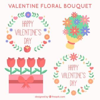 파스텔 색상의 장식 발렌타인 꽃
