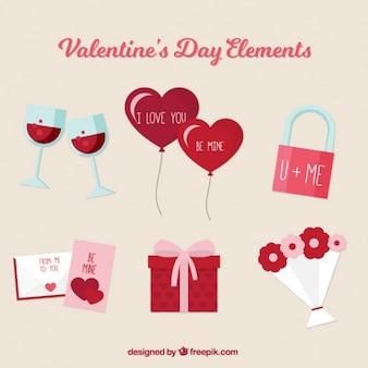 Elementi san valentino decorativo