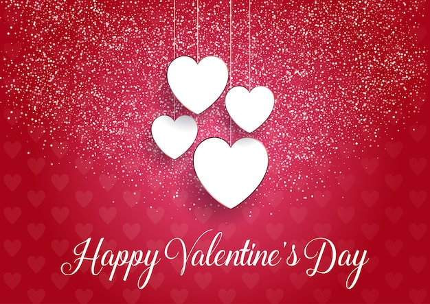 Decorative valentines day background with hanging hearts