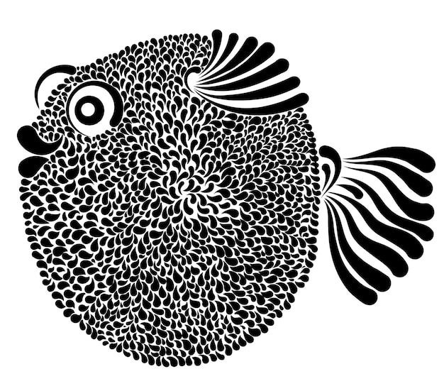 Decorative vector graphic illustration of a bloated fish porcupinefish