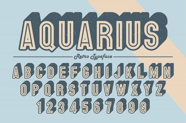 Decorative vector vintage retro typeface, font, typeface.