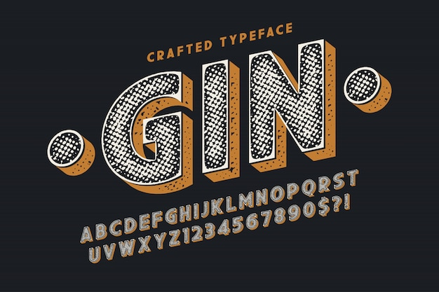 Decorative vector vintage typeface, letters and numbers