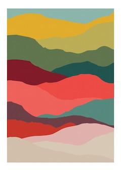 Декоративный вертикальный фон с абстрактными волнами теплых ярких цветов