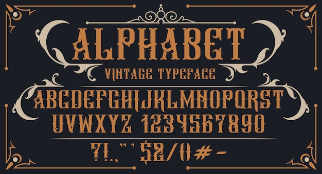 장식 빈티지 알파벳입니다. 브랜드, 주류 라벨, 로고, 상점 및 기타 여러 용도에 적합합니다.