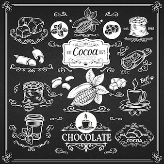 Декоративные старинные значки какао