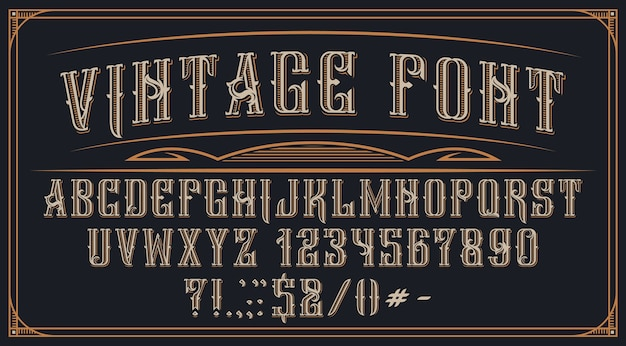 Decorative vintage font on the dark background. perfect for brand, alcohol labels, logos, shops and many other uses.