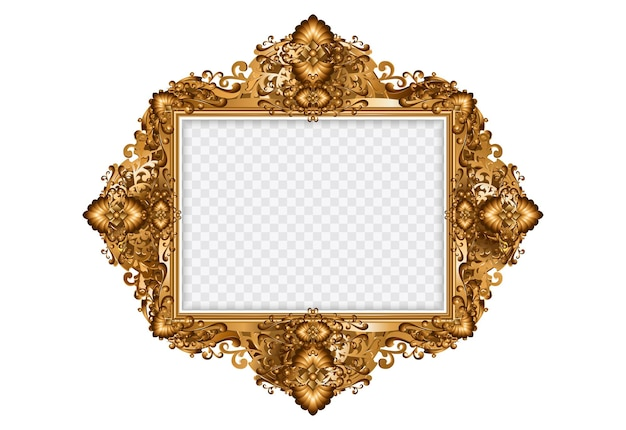 Decorative vintage frame. oval gold photo frame with corner thai line floral for picture