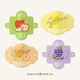 Decorative vintage labels of juice in flat design