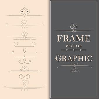 装飾的なヴィンテージページ区切りと書道の渦巻き飾りベクトル要素。