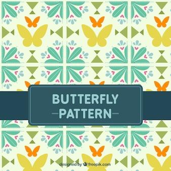 蝶と花の形の装飾的なヴィンテージのパターン