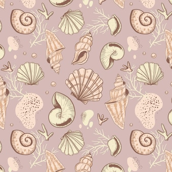 Decorative vintage seashell pattern