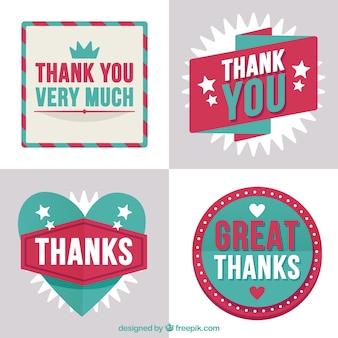 Adesivi decorativi adesivi di ringraziamento impostato