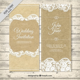 Decorative vintage wedding invitation with lace