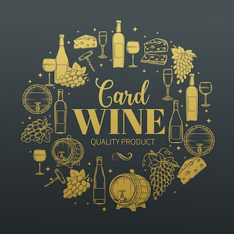 Decorative vintage wine icons.